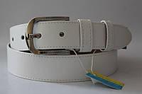 Ремень кожаный класический 40 мм белый гладкий прошитый белой ниткой пряжка хром овальная