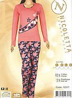 Пижама женская cо штанами в горох и цветочек 12317