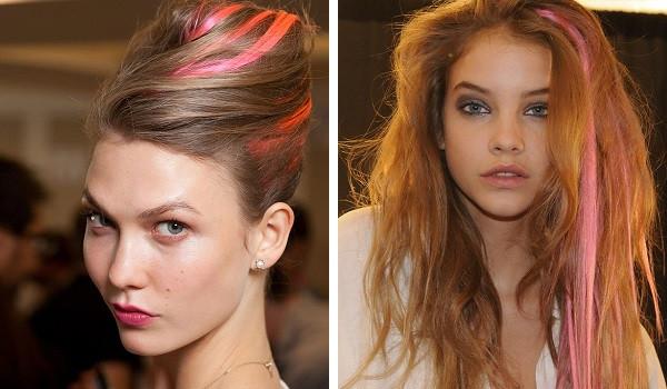 Цветные пряди на русых волосах