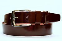 Ремень кожаный классический лаковый 40 мм цвет коричневый пряжка хром серебристая
