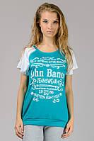 Женская трикотажная футболка реглан с надписью