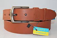 Ремень кожаный универсальный 40 мм цвет рыжий матовый пряжка матовая