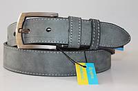 Ремень кожаный классический 40 мм серый (мраморный) пряжка матовая квадратная