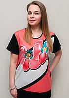 Красивая батальная женская футболка прямого кроя