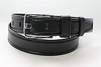 Ремень кожаный классический 40 мм черный прошитый черной ниткой пряжка хром широкий язык