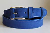 """Замшевый ремень на джинсы и брюки нубук 40 мм голубого цвета """"электрик"""""""