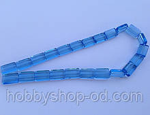 Бусина Прямоугольная цвет голубой 10*15 мм