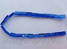 Бусина Прямоугольная цвет синий 10*15 мм