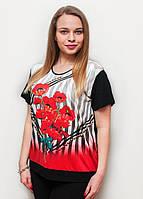 Яркая летняя женская футболка в красные маки