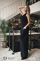 Трикотажное платье в пол с карманами