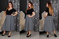 Платье длинное юбка в полоску Батал! 20 (БН)