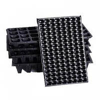 Пластиковая кассета для рассады 128H Agreen из полистирола, размер 280х540мм, компоновка 8х16, черная