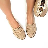 Стильные женские комфортные туфли- лоферы от TroisRois  из натурального турецкого замша 2.5, Без застежки, натур, Бежевый