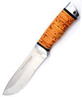 Нож охотничий Зубр с рукоятью из бересты с кожаным чехлом + эксклюзивные фото, тактический нож, рыбацкий нож , фото 1