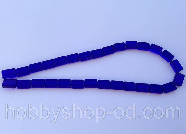 Бусина Прямоугольная цвет синий кобальт 8*12 мм