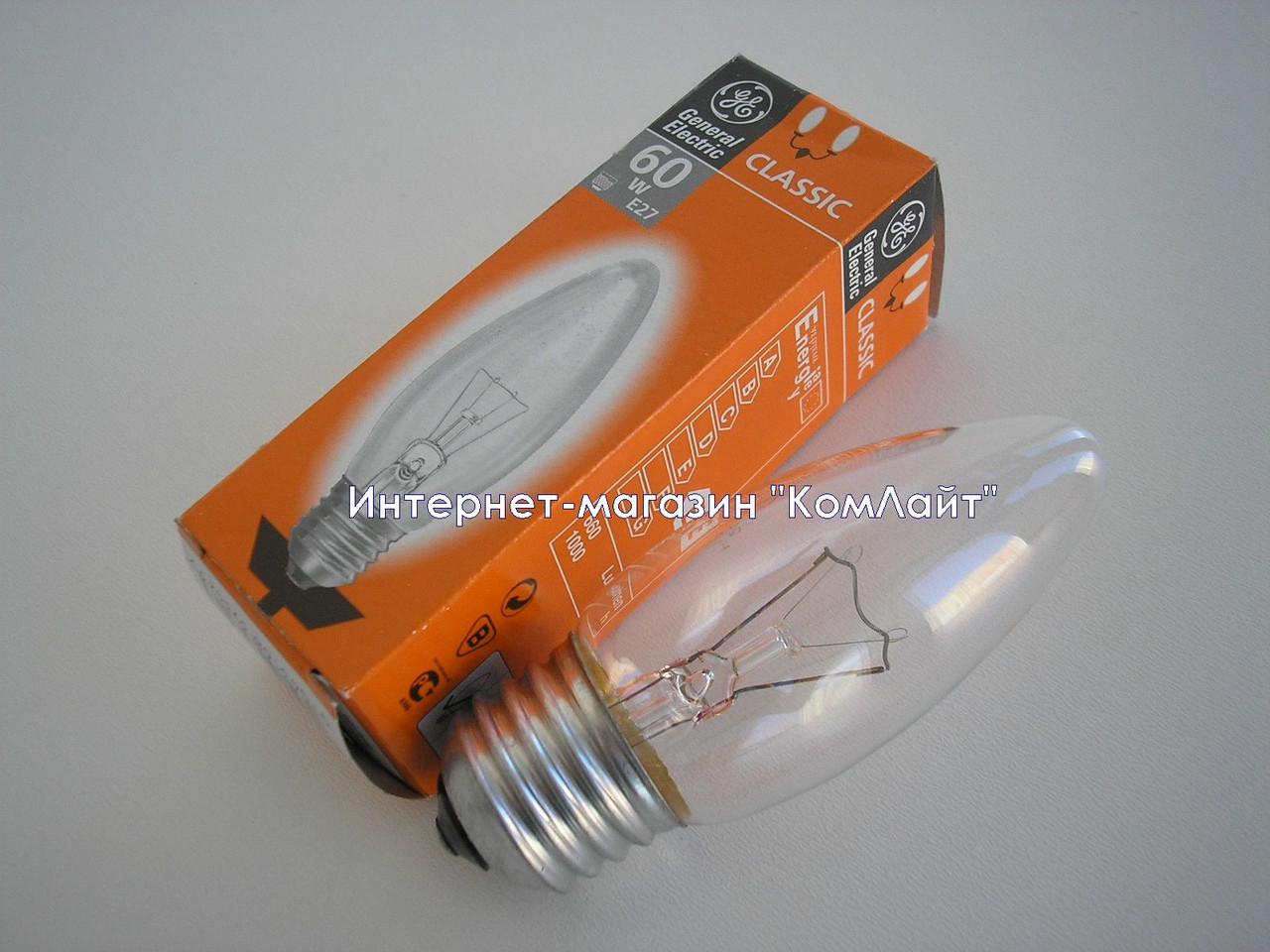 Лампа накаливания свечка General Electric 60C1/CL/E27 прозрачная 60 Вт(Венгрия)