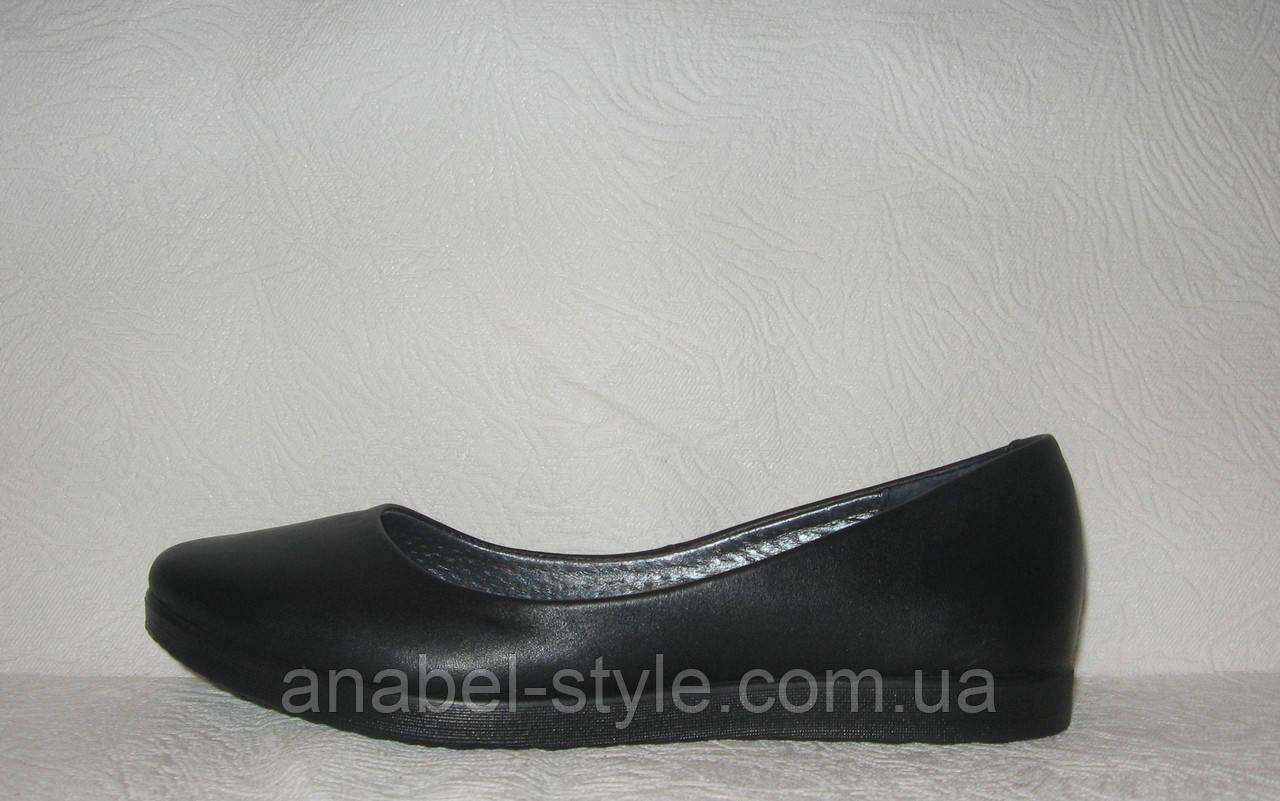 Балетки женские стильные натуральная кожа черного цвета