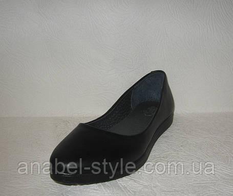 Балетки женские стильные натуральная кожа черного цвета, фото 2