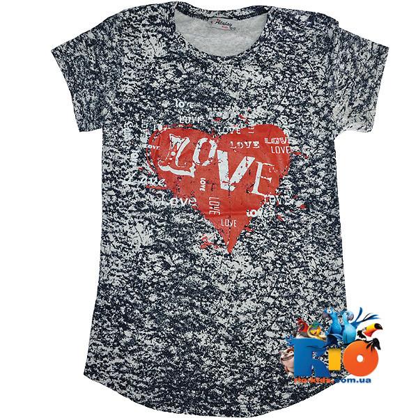 """Детская трикотажная футболка """"Love"""" , для девочки от 9-12 лет"""