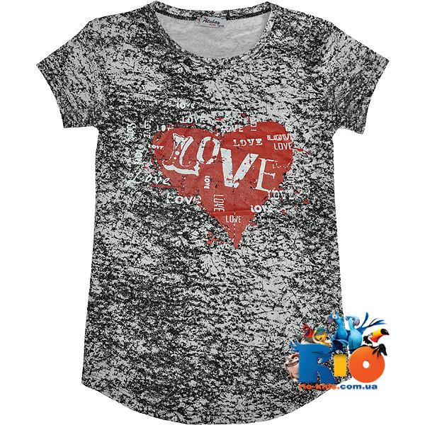 """Летняя детская футболка """"Love"""" , из трикотажа , для девочки от 9-12 лет"""