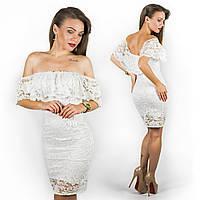 Белое гипюровое платье 15546
