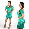 Бирюзовое гипюровое платье 15546