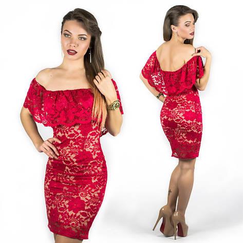 Красное гипюровое платье 15546, фото 2