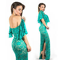 Бирюзовое платье 15545