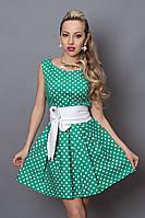 Платье зеленое с белым горохом