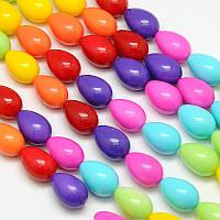 Бусины Стекло Окрашенные экокраской, на шнуре из смесового хлопка, Капля, Цвет: Разноцветные, Размер: 13х9мм, Отверстие 1мм, около 30шт/нить,