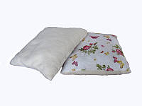 Меховая подушка, силиконовый наполнитель, Бабочки-розы, бязь 100% хлопок (70х70 см.)