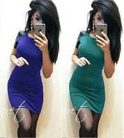 Женское стильное платье с эко кожей