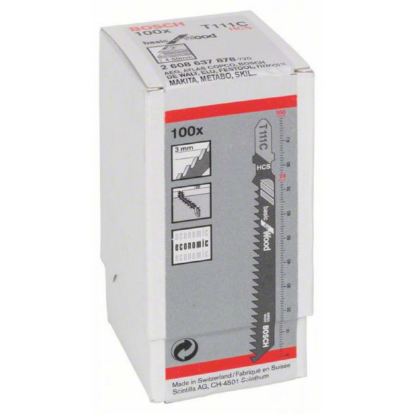 Пилки лобзиковые Bosch 100 шт T 111 С, HCS