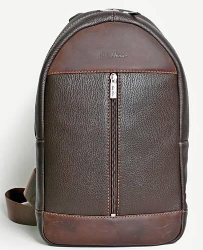 Кожаный удобный рюкзак на одну шлейку ISSA HARA BP1 (12-32) brown