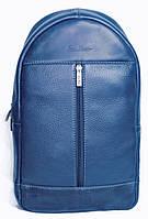 Превосходный кожаный рюкзак на одну шлейку ISSA HARA BP1 (13-33) blue