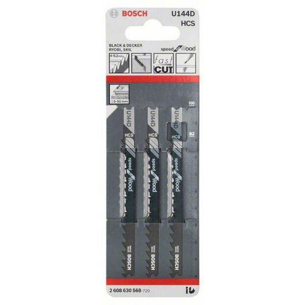 Пилки лобзиковые Bosch 3 шт U 144 D, HCS