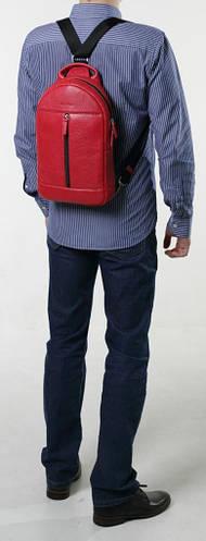 Универсальный городской кожаный рюкзак на одну шлейку ISSA HARA BP1 (15-00) red