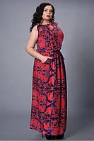 Длинное в пол легкое летнее женское платье из штапеля, 48,50,52,54