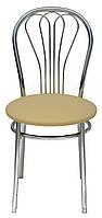 [ Стул Venus chrome S-64 + Подарок ] Мягкий хромированный стул искусственная кожа cветло-бежевый
