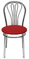[ Стул Venus chrome S-3120 + Подарок ] Мягкий хромированный стул искусственная кожа красный