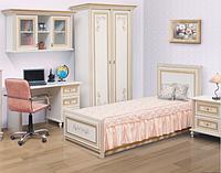 """Комплект детской мебели """" Сорренто """" пять элементов, фасад художественная печать, белый с золотой патиной."""