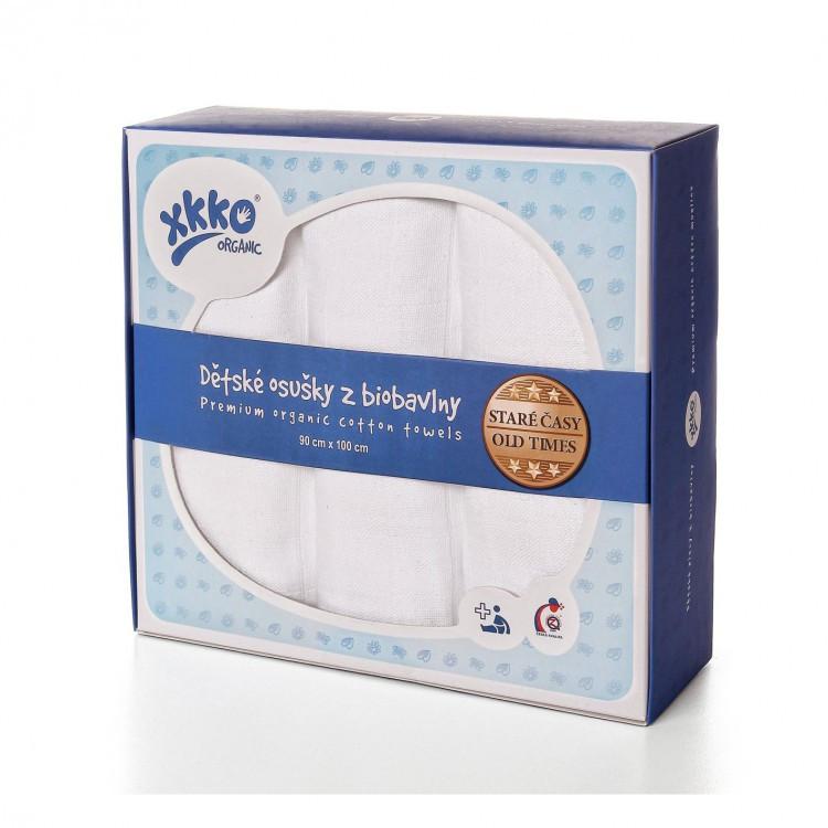 Пеленки хлопковые органические муслиновые  XKKO 90х100 3 шт. Белые