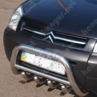 Защита бампера Citroen Berlingo, с круглой перемычкой и грилем