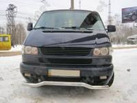 Защита переднего бампера Volkswagen Caravelle, изогнутый ус