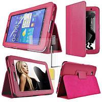 Ярко-розовый чехол для Galaxy Tab 3 8.0  из синтетической кожи