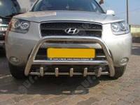 Защита бампера Hyundai Santa Fe, с грилем и круглой перемычкой