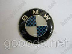 """Эмблема на руль """"BMW"""" (d=44mm, карбон синий)"""