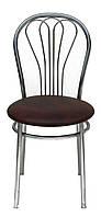 [ Стул Venus chrome S-61 + Подарок ] Мягкий хромированный стул искусственная кожа коричневый