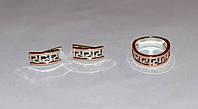 """Серебряный набор """"Versace"""": серьги и кольцо с золотыми пластинами 375 пробы"""