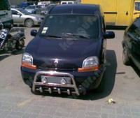 Защитная дуга переднего бампера Renault Kangoo, с грилем и с надписью